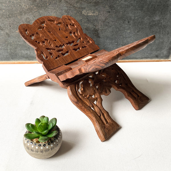Vintage Carved Wood Book Stand, Bohemian Style