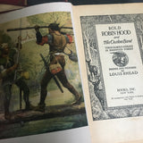 Set of 3 Classic Fiction Books, 1940s editions Robin Hood, Robinson Crusoe, Treasure Island