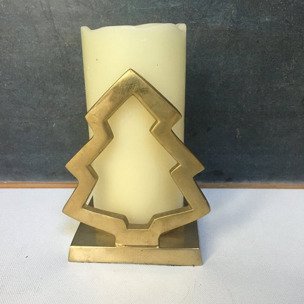 Pillar Candle Holder, Vintage Brass Christmas Tree, Holiday Drcir