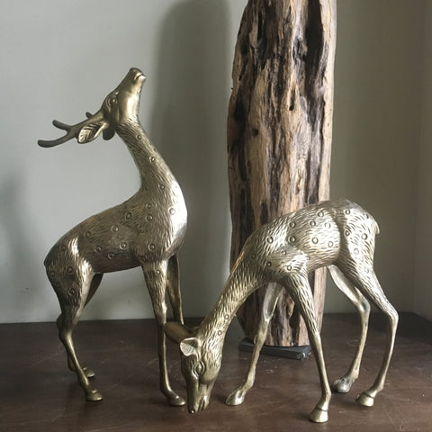 Pair of large vintage brass deer