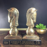 Vintage Brass Chess Knight Bookends - horse bookends