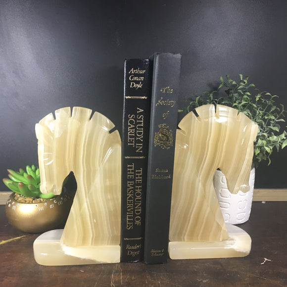 Mid Century Alabaster Bookends, Chess Knight Horse Heads