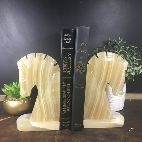 Cream Alabaster Horse Head Bookends - Marble Chess Knight