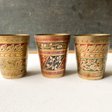 Vintage Brass Lassi Cup Set with Tray