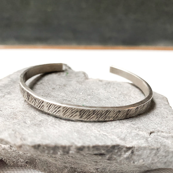Sterling Silver Cuff Bracelet, Tree Bark Pattern