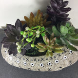 Faux Succulent Arrangment in hand painted planter