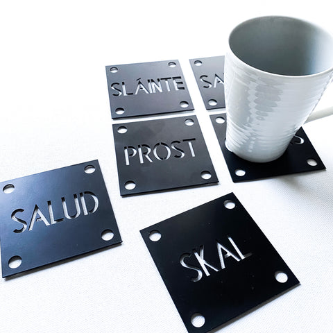 Cheers Drink Coasters, Around the World,  Set of Six Steel Drink Coasters