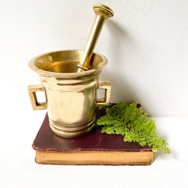 Heavy, vintage brass mortar and pestle