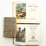 Vintage Book Lot, Children's Classic Stories, Heidi, Black Beauty, Gulliver's Travels