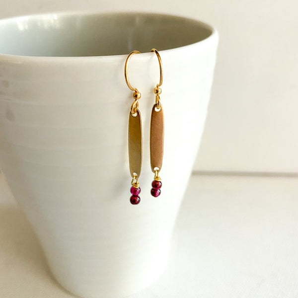 Mini Garnet Gemstone Drop Earrings
