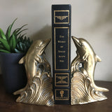 Vintage Brass Dolphin Bookends