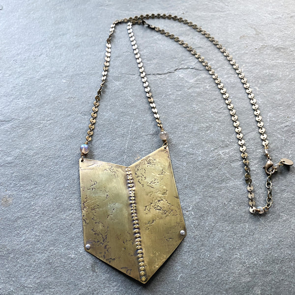 Large Brass Chevron Statement Necklace