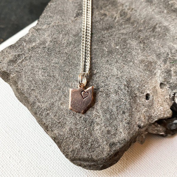Rose Gold Ohio Charm Necklace