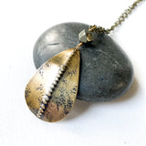 Dotted Ridge Necklace, Distressed Brass Pendant