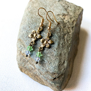 Flower Earrings with blue and green crystals