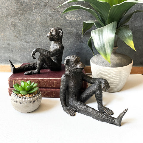 Vintage Metal Monkey Cast Iron Style Bookends