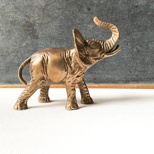 Vintage Brass Elephant Sculpture