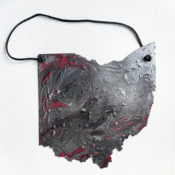 Ohio Steel Wall Art - red + silver/gray