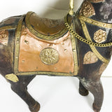 Vintage Wood and Metal Horse with brass and copper