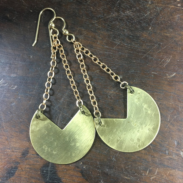 Hammered Brass Large Dangle Statement Earring