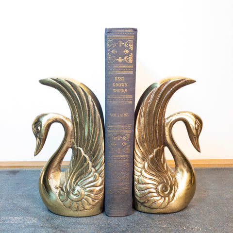 Vintage Brass Swan Bookends