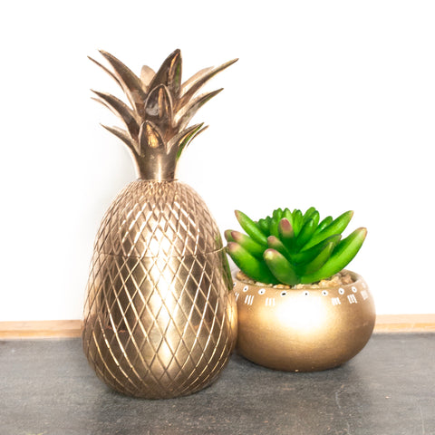 brass pineapple container small vintage lidded box