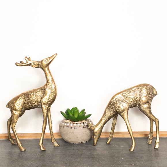 Vintage Brass Deer Pair