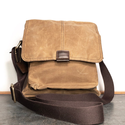 Vintage Fossil Bag - Canvas Messenger Crossbody Bag