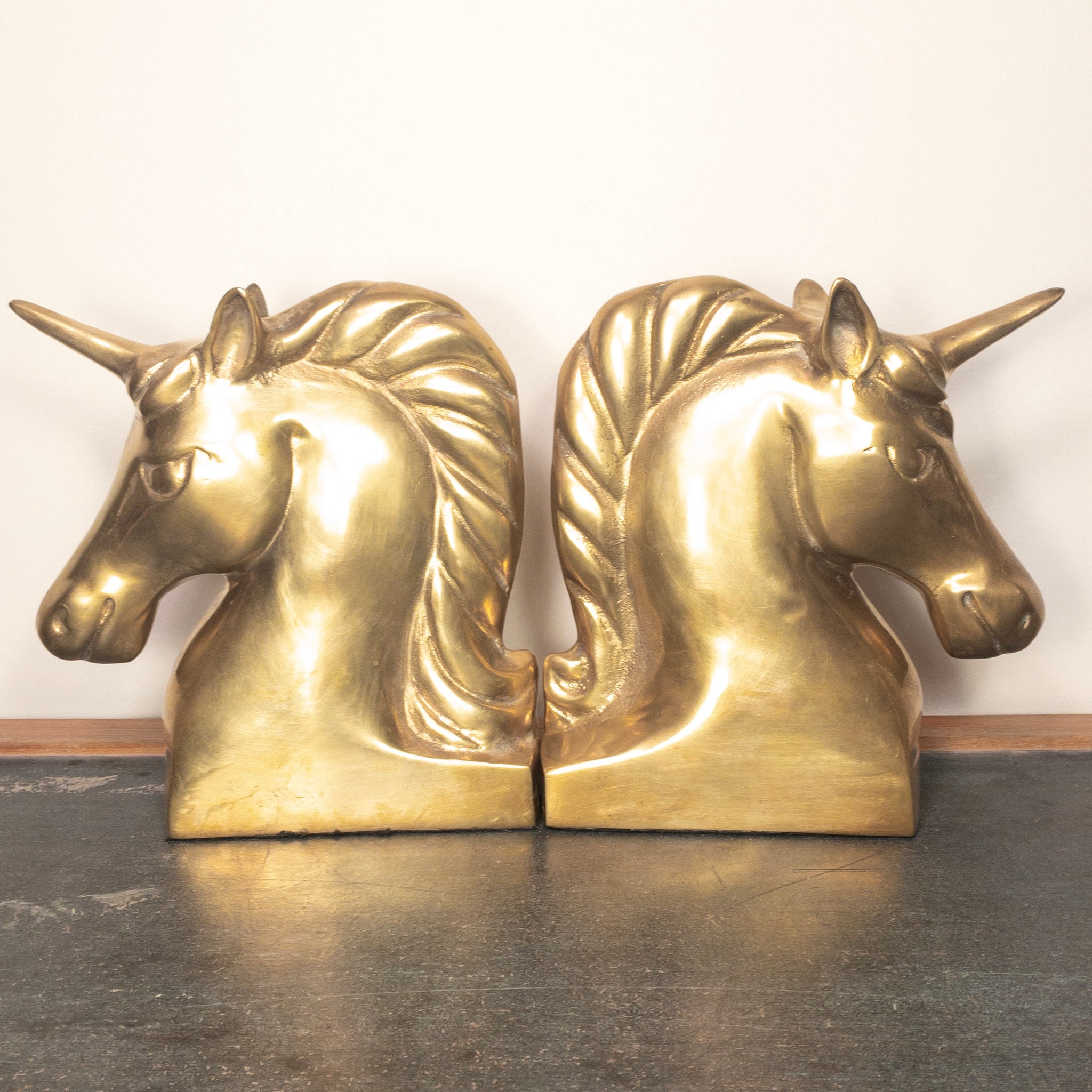 Large Brass Unicorn Bookends