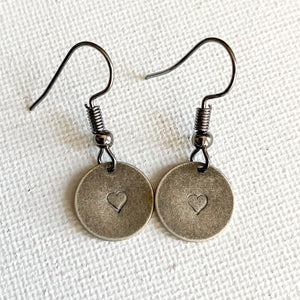 Stamped Hearts, Mini Rustic Earrings