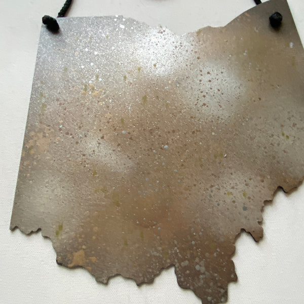 Hand Painted Steel Ohio Wall Art - Metallic Splatter Finish