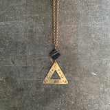 Celestial Geometry Necklace, Stamped Triangle Pendant