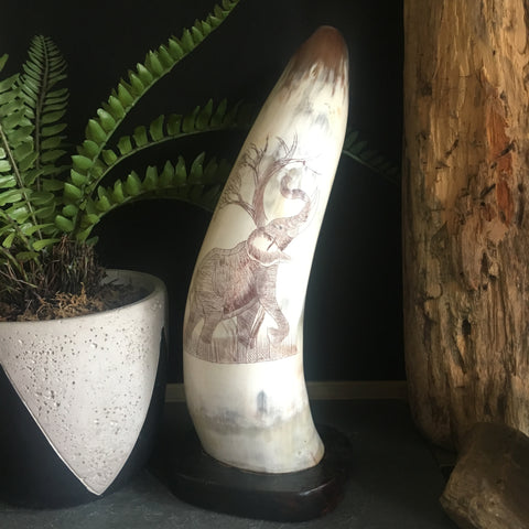 Vintage Carved Horn with Elephant Scrimshaw