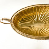 Vintage brass pedestal bowl with serpent handles