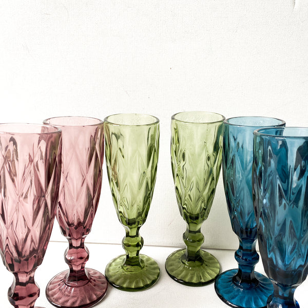 Vintage Jewel Tone Glass Set, Mix and Match Glasses,Champagne Flutes,  Goblets, Colorful Tablescape, Party Decor,
