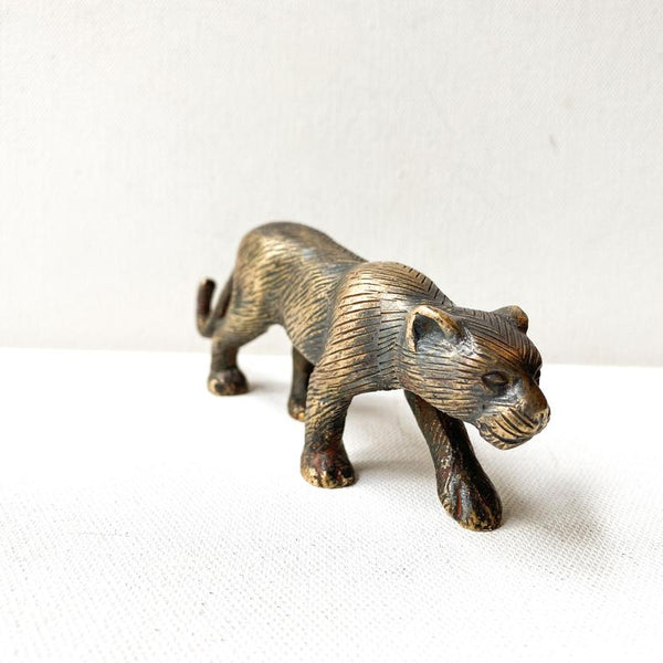 Vintage brass cougar figurine, bronze tone mountain lion