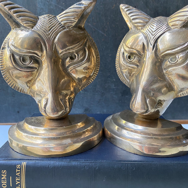 Vintage Brass Fox Bookends