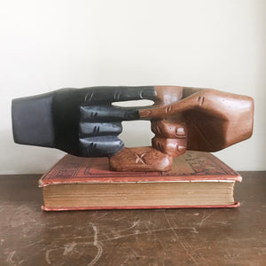 Vintage carved wood hand sculpture