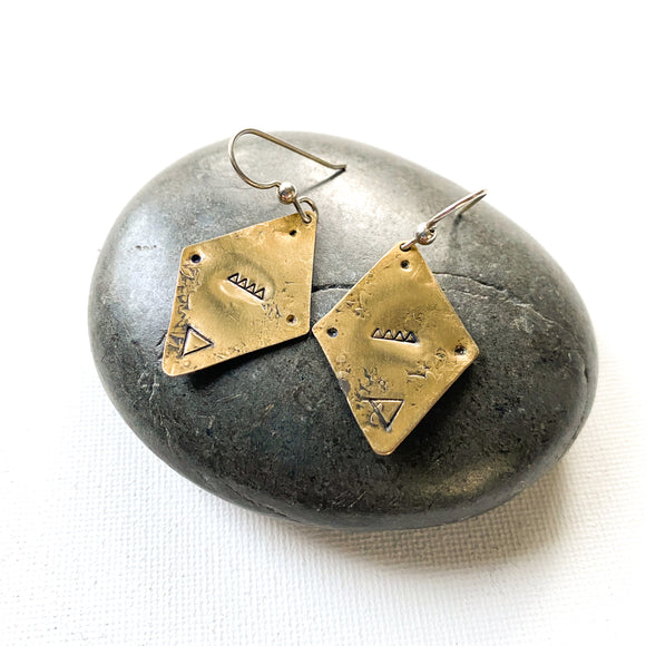 Diamond Delta Earrings, Geometric Brass Drop Earrings