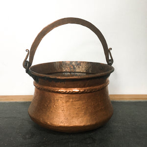 Vintage copper cauldron, witches cauldron
