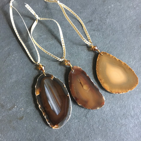 Set of 3 Agate Ornaments - earth tones