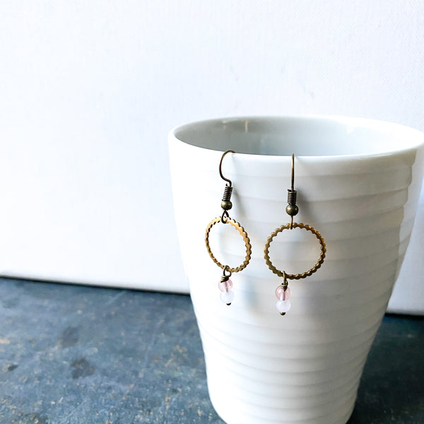 Hoop and Rose Quartz earrings