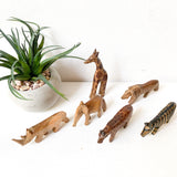 Small Wood Safari Animal Figurines, Miniature Wood African Animals Lot