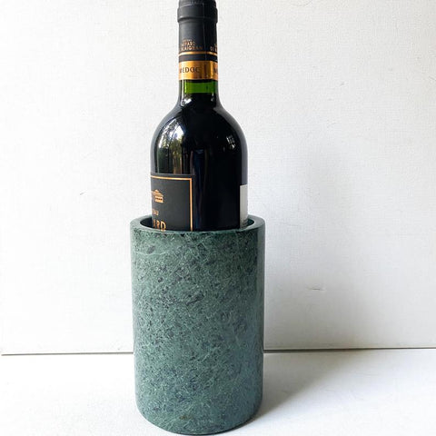 Vintage Green Marble Wine Cooler, Kitchen Utensil Holder, Stone Vase