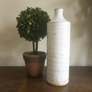 Vintage Japanese Tall White Speckled Midcentury  Vase