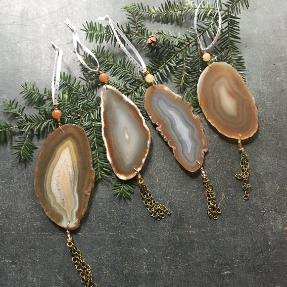 Agate Ornaments, Set of 4, Natural Holiday Decor