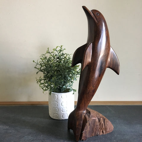 Vintage Ironwood Dolphin Sculpture 12""