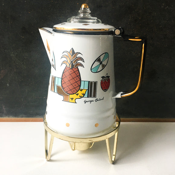 Georges Briard Coffee Pot Percolator, Ambrosia Pattern, Vintage Kitchen