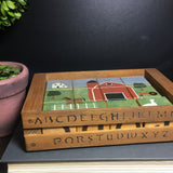 Hand Painted Primitive Folk Art Boxed Wood Alphabet and Puzzle Blocks