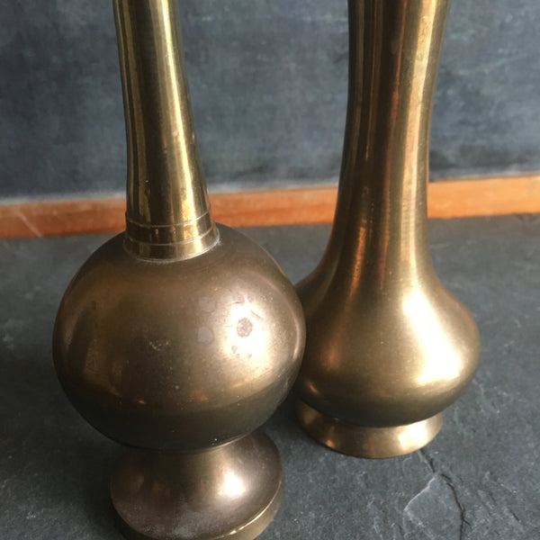 Vintage Brass Vases, Pair of Two in Antiqued Brass